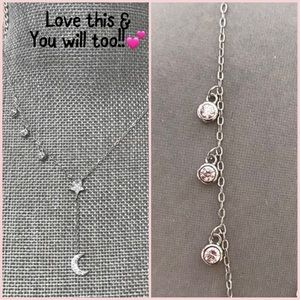 Sterling Silver & CZ Star & Moon & Twinkles, NWT